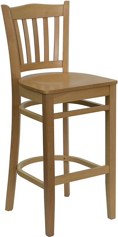 natural oak wood vertical slat back bar stool. Black Bedroom Furniture Sets. Home Design Ideas