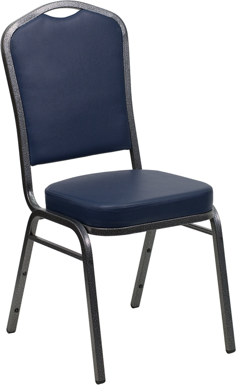 Navy Blue Vinyl Crown Back Stacking Banquet Chair