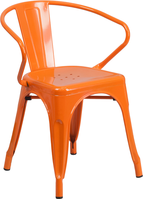 Orange Outdoor Metal Retro Industrial Arm Chair. Black ...