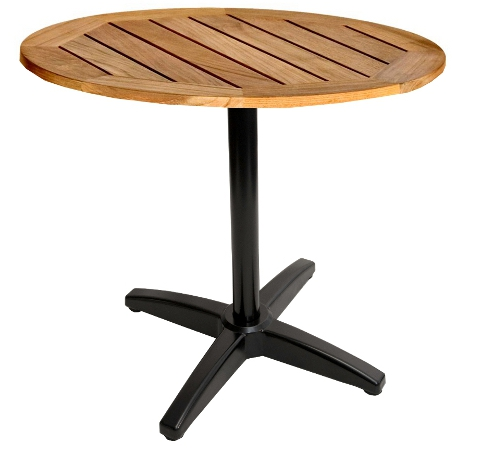 Round Real Teak Wood Restaurant Patio Table Black Aluminum
