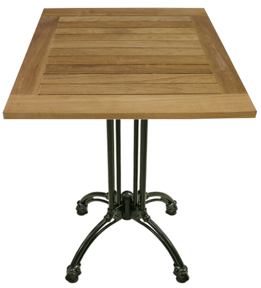 Square Teak Table with Cast Iron Base