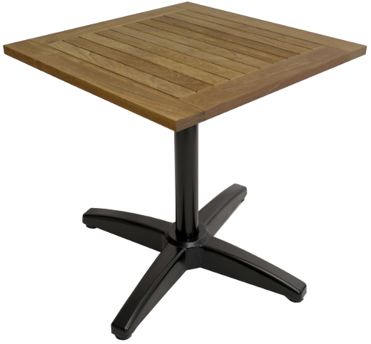 Commercial Outdoor Square Real Teak Patio Table W Black X