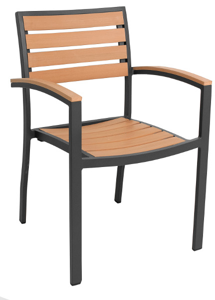 Resin Teak Outdoor Dining Arm Chair