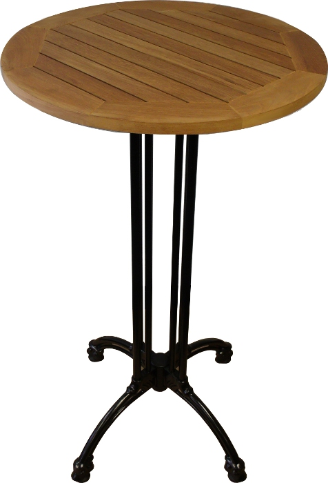 Round Teak Patio Table W Black Cast Aluminum Base