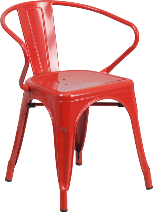 Red Outdoor Metal Retro Industrial Arm Chair