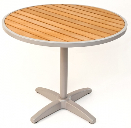 Round Outdoor Teak Resin Patio Table w/ Silver Frame