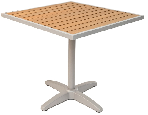 Square Outdoor Teak Resin Patio Table w/ Silver Frame