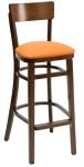Series Narrow Back Wood Restaurant Bar Stool w/ Upholstered Seat