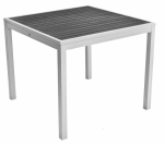 Square Patina Gray Faux Teak Inlay Table