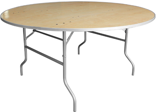 Round Plywood Table with Metal Edge