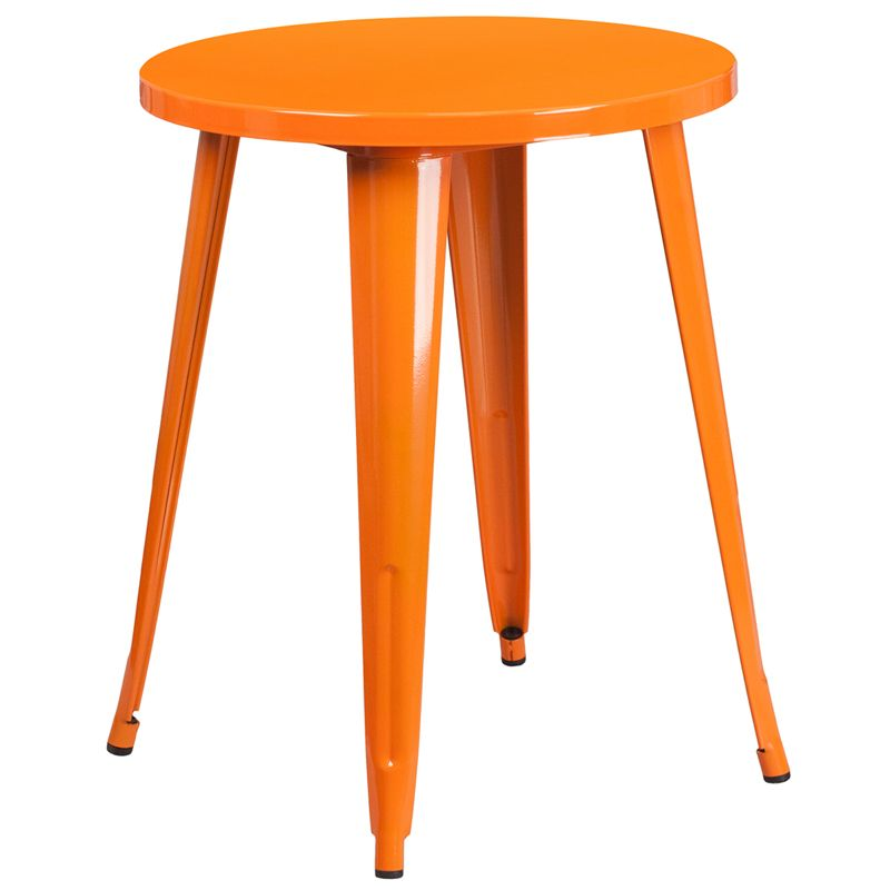 Orange  Industrial Metal 24 Inch Round Table