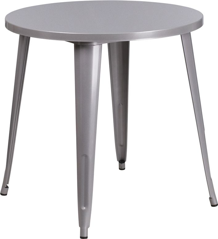 Silver 30 Inch Round Outdoor Retro Industrial Metal Table