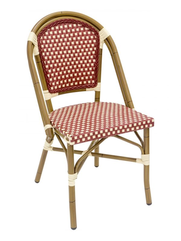 French Rattan Outdoor Bistro Chair w/ Bamboo Painted Frame