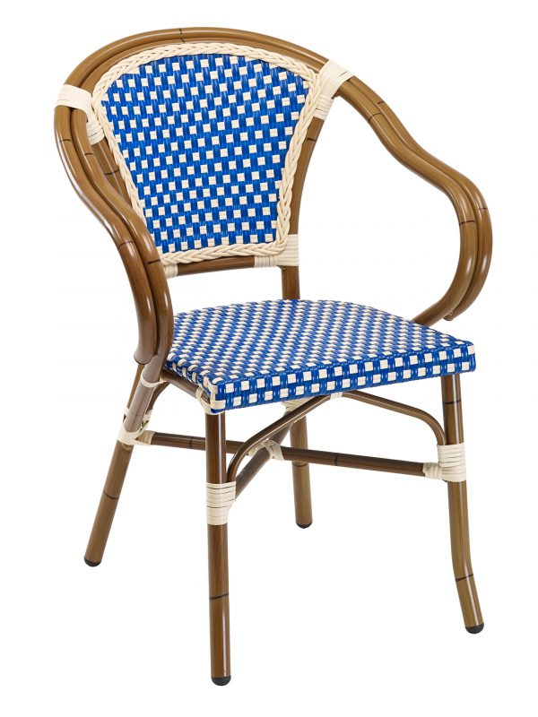 Rattan Outdoor French Bistro Arm Chair
