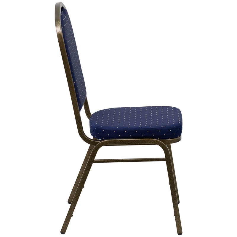 Padded Banquet Chairs navy blue fabric and gold crown banquet chair
