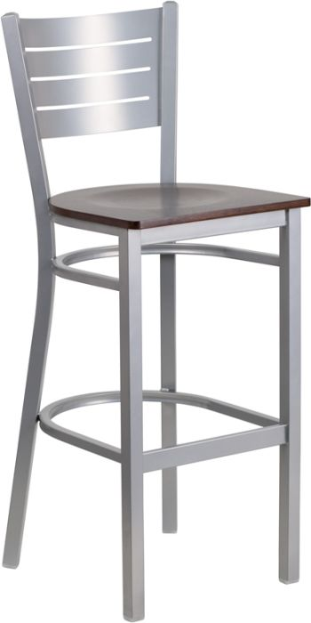 Silver Indoor Restaurant Bar Stool w/ Walnut Wood Seat