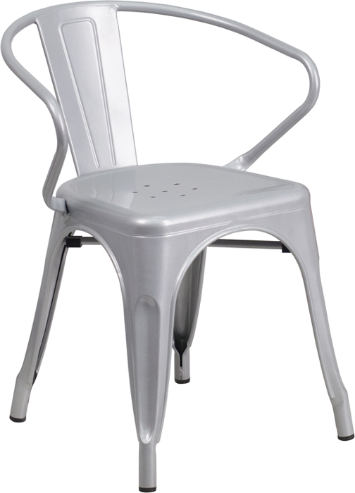 Silver Outdoor Metal Retro Industrial Arm Chair. White ...