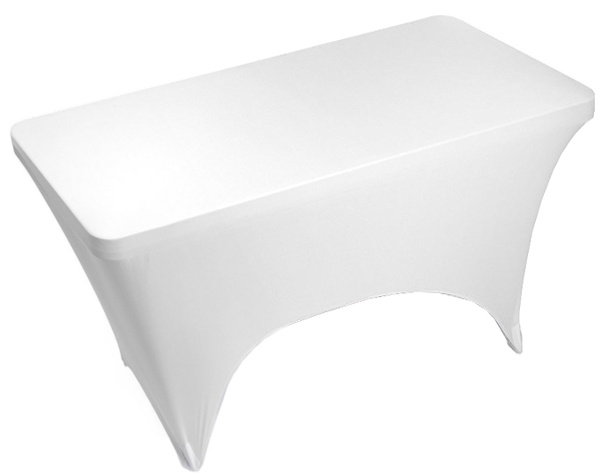 Rectangular 30 x 48 White Spandex Table Cover