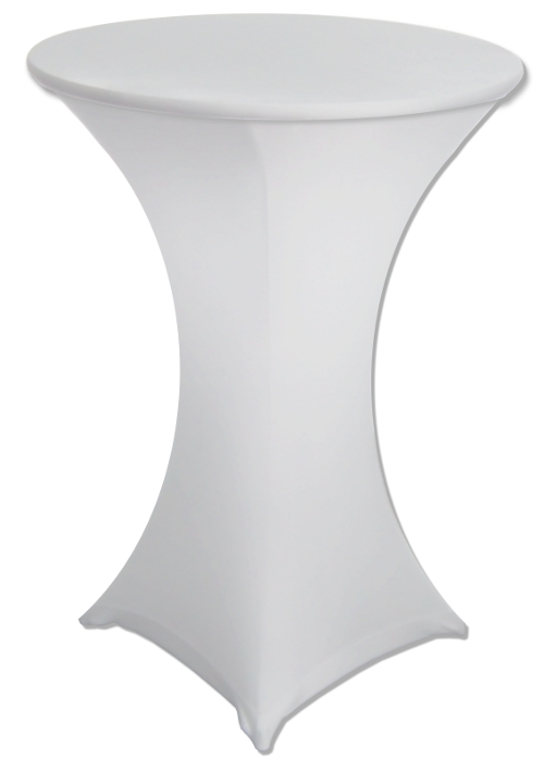 24 Round X 42 Inch Tall White Stretch Ed Spandex Highboy Tail Table Cover