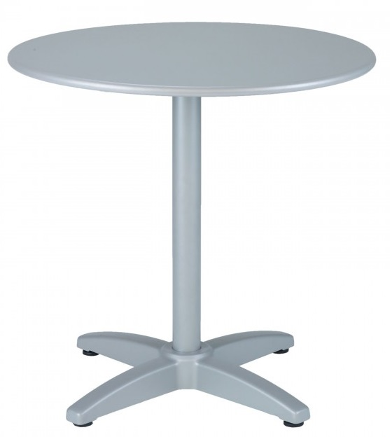 Round Silver Aluminum Commercial Outdoor Table