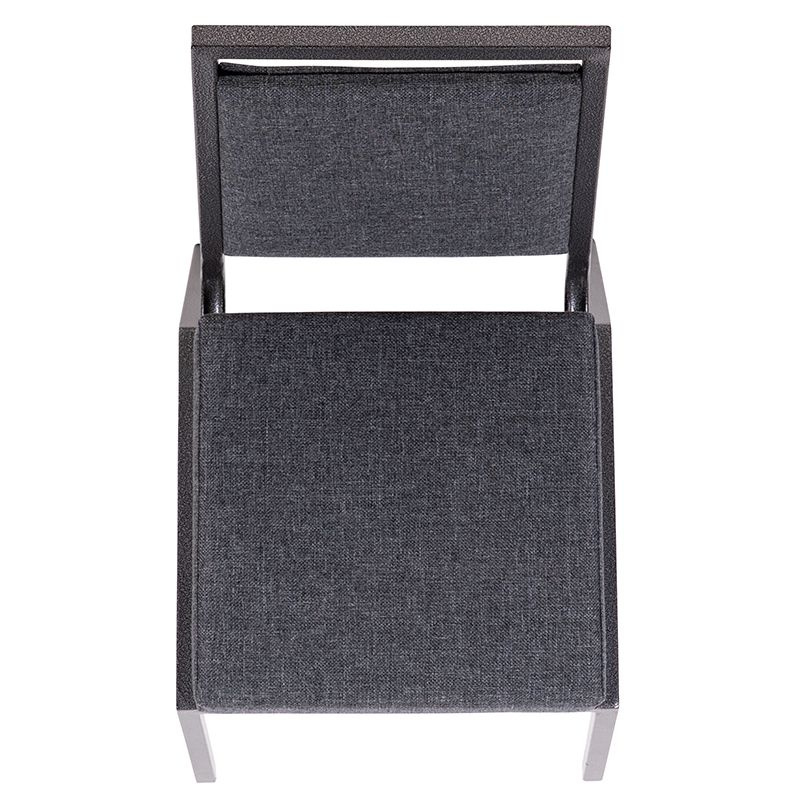 Square Back Stacking Banquet Chair With Gray Fabric And