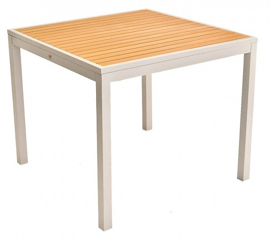 Square Faux Teak Inlay Table w/ Silver Frame