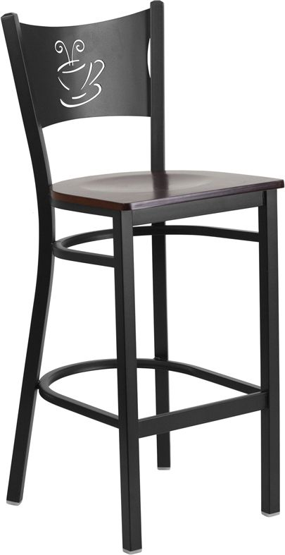 Coffee Cup Back Bar Stool with Black Frame Walnut Wood Seat