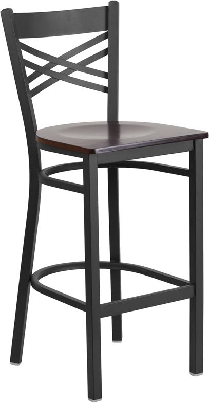 X Back Black Metal Bar Stool with Walnut Wood Seat