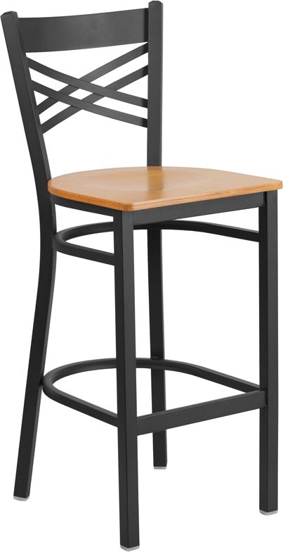 X Back Black Metal Bar Stool with Natural Wood Seat