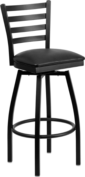 Swivel Bar Stool with Black Vinyl Seat