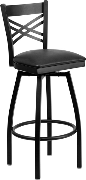 Swivel X Back Bar Stool with Black Vinyl