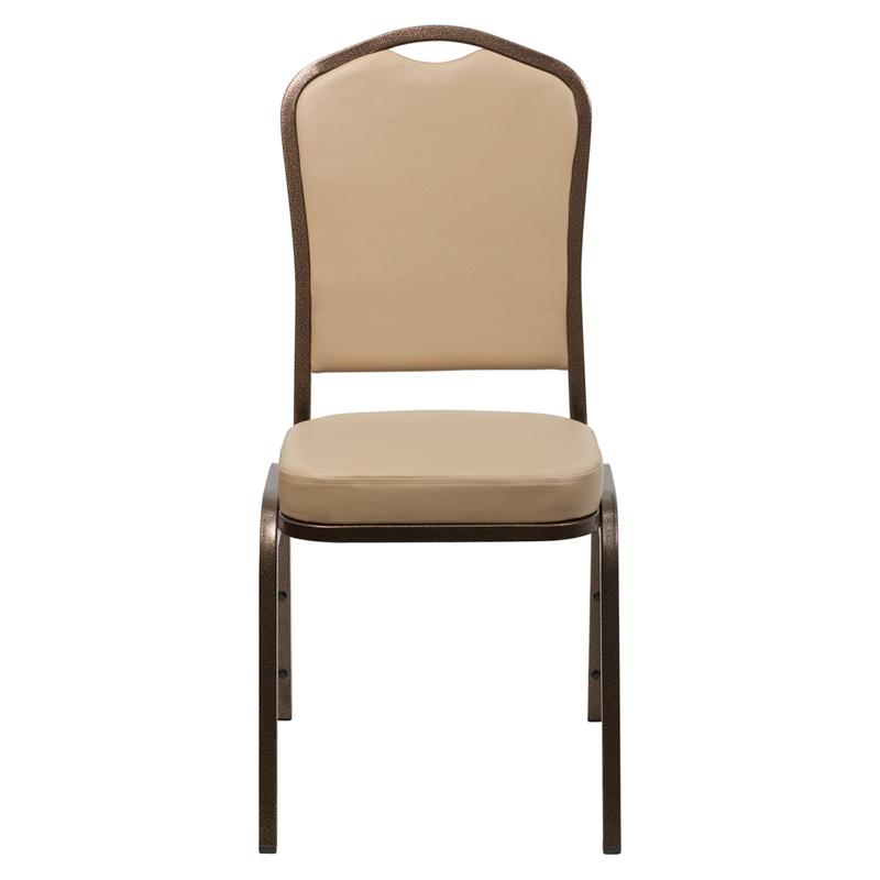 Beige Vinyl Crown Back Stacking Banquet Chair Coppervein Frame