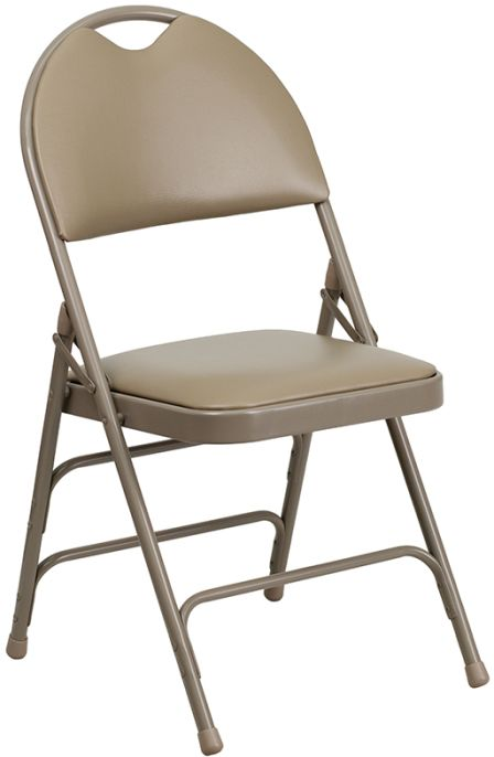 Beige Vinyl Seat Triple Braced Metal Folding Chair with Easy-Carry Handle