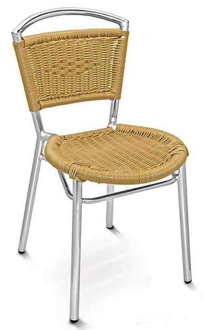 Wicker Seat And Back Side Chair W Aluminum Frame