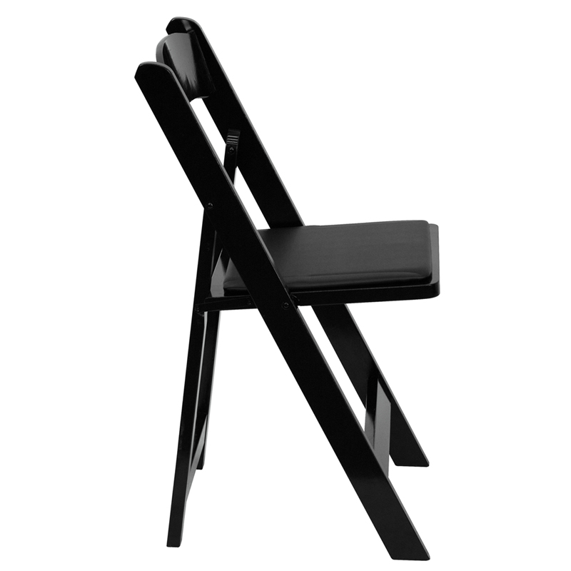 Black Wood Folding Chair W Padded Seat