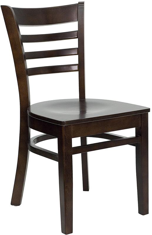 Dark Walnut Wood Ladder Back Restaurant Chair