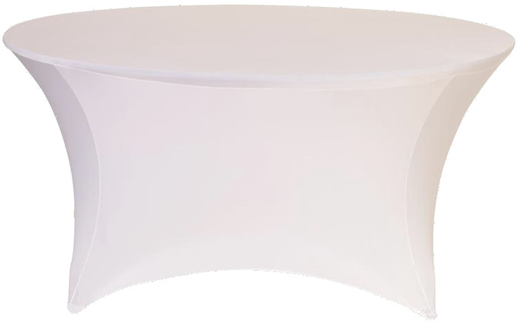 White 72 Inch (6 Ft Round) Stretch Spandex Table Cover