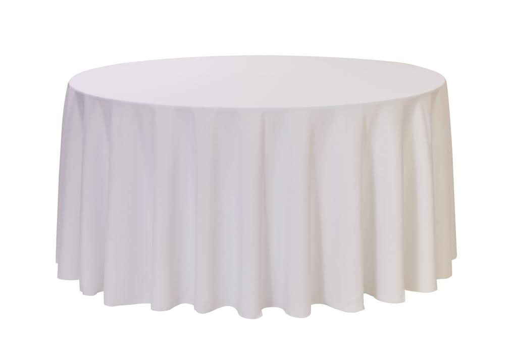 Round Table With Tablecloth.108 Inch Round White Polyester Table Linen