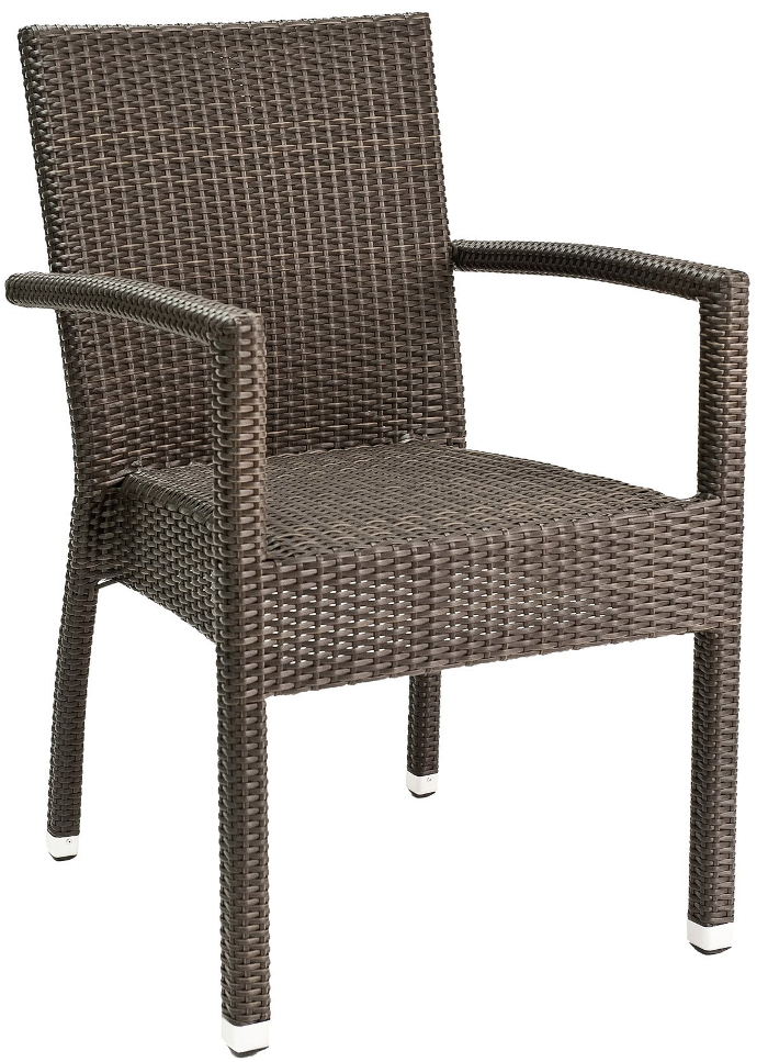 Commercial Outdoor Dark Wicker Patio Chair With Arms