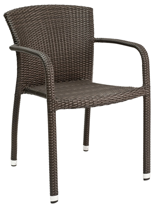round back and arms wicker chair
