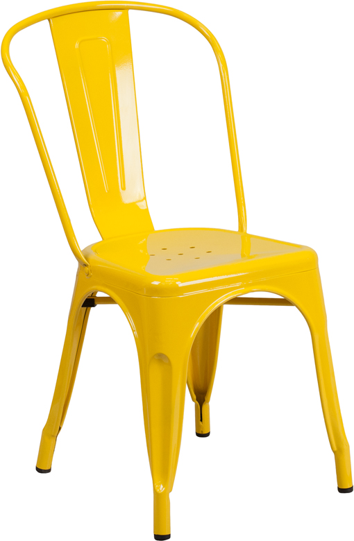 Yellow Outdoor Metal Retro Industrial Side Chair. Silver ...